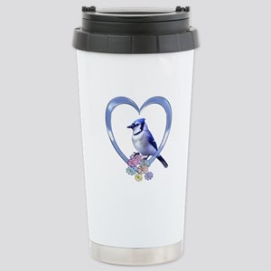 Blue Jay in Heart Stainless Steel Travel Mug