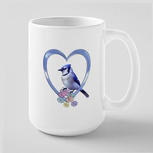 Blue Jay in Heart Large Mug