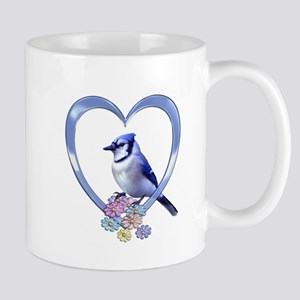 Blue Jay in Heart Mug