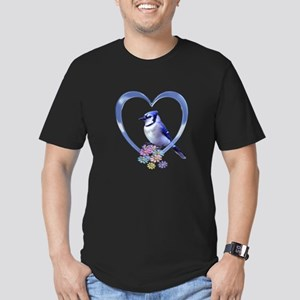 Blue Jay in Heart Men's Fitted T-Shirt (dark)