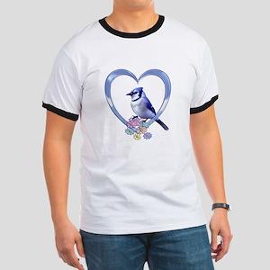Blue Jay in Heart Ringer T