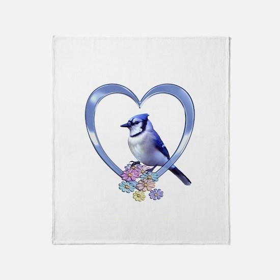Blue Jay in Heart Throw Blanket