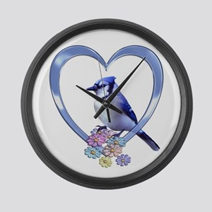 Blue Jay in Heart Large Wall Clock