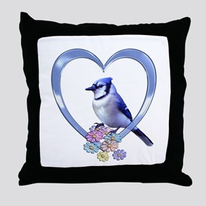 Blue Jay in Heart Throw Pillow
