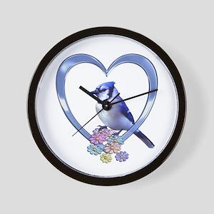 Blue Jay in Heart Wall Clock