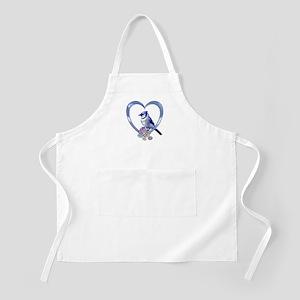 Blue Jay in Heart Apron
