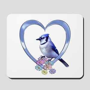 Blue Jay in Heart Mousepad