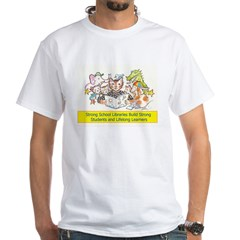 Library Cat White T-Shirt