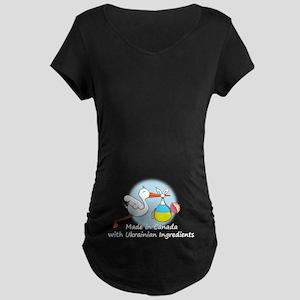 Stork Baby Ukraine Canada Maternity Dark T-Shirt