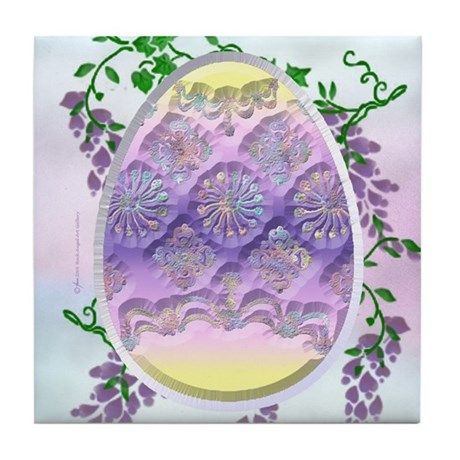 Carved Easter Egg Tile Coaster