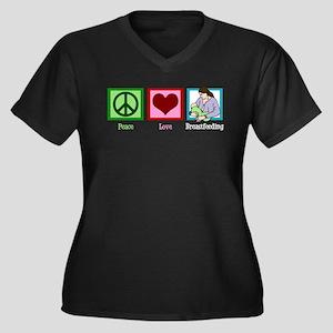Peace Love Breastfeeding Women's Plus Size V-Neck
