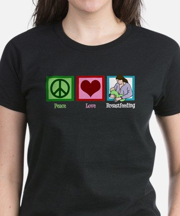 Peace Love Breastfeeding Women's Dark T-Shirt