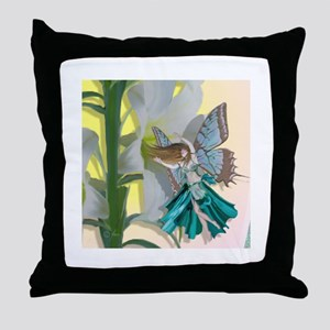 Easter Lily Fairy Throw Pillow