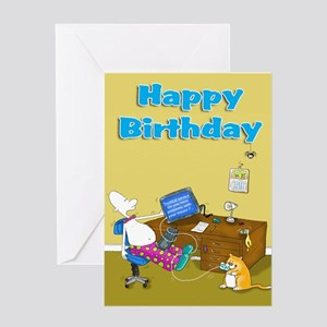 computer trouble Happy Birthday Card