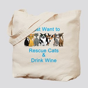 Rescue Cats & Drink Wine Tote Bag
