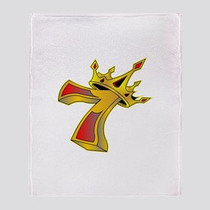 Lucky 7 Crown Tattoo Throw Blanket