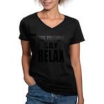 The Franks Say Relax Women's V-Neck Dark T-Shirt