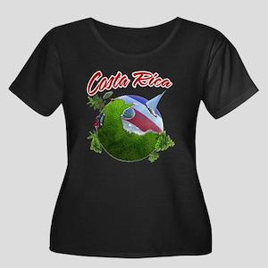 Costa Rica Women's Plus Size Scoop Neck Dark T-Shi