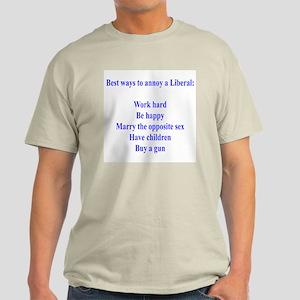Best Ways to annoy liberals Ash Grey T-Shirt