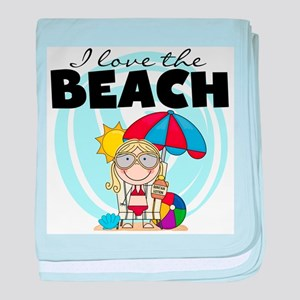 Blond Girl Love the Beach baby blanket