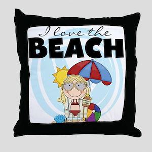 Blond Girl Love the Beach Throw Pillow