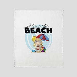Blond Girl Love the Beach Throw Blanket