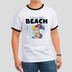 Blond Girl Love the Beach Ringer T