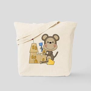 Monkey Builds Sand Castle Tote Bag