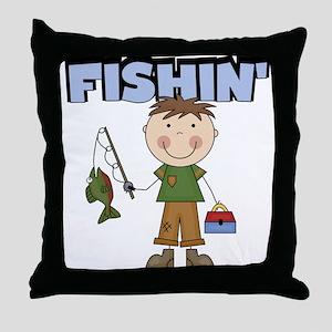 Stick Figure Boy Fishin' Throw Pillow