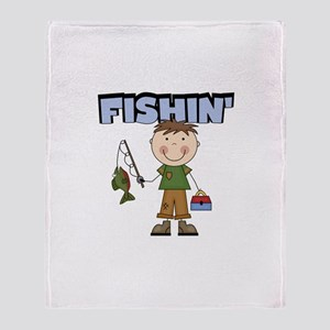Stick Figure Boy Fishin' Throw Blanket