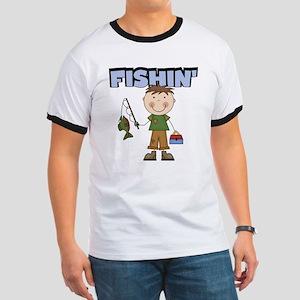 Stick Figure Boy Fishin' Ringer T
