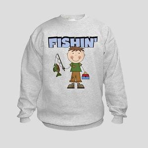 Stick Figure Boy Fishin' Kids Sweatshirt