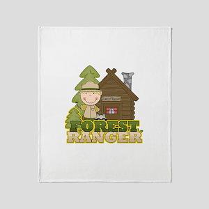Male Forest Ranger Throw Blanket
