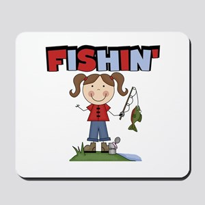 Stick Figure Girl Fishin' Mousepad
