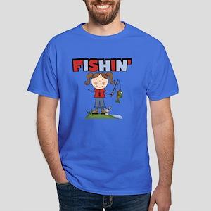 Stick Figure Girl Fishin' Dark T-Shirt