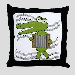 Crocodile With Accordion Throw Pillow