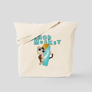 Blue Beach Monkey Tote Bag