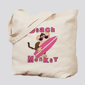Pink Beach Monkey Tote Bag
