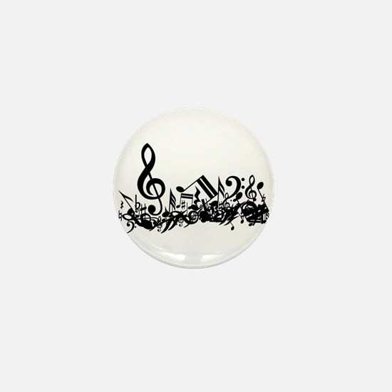 Mixed Musical Notes (black) Mini Button (10 pack)