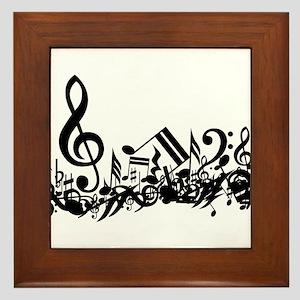 Mixed Musical Notes (black) Framed Tile