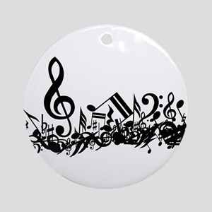 Mixed Musical Notes (black) Ornament (Round)