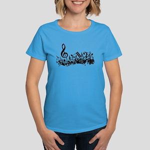 Mixed Musical Notes (black) Women's Dark T-Shirt