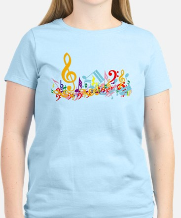 Colorful musical notes Women's Light T-Shirt