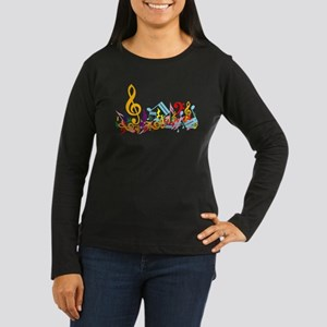 Colorful musical notes Women's Long Sleeve Dark T-