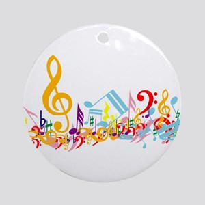 Colorful musical notes Ornament (Round)
