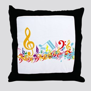 Colorful musical notes Throw Pillow