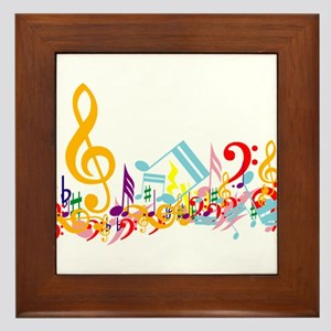 Colorful musical notes Framed Tile