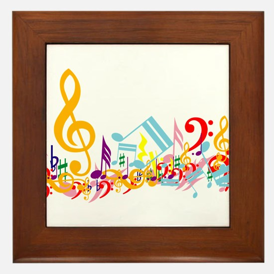 Colorful musical notes Framed Tile