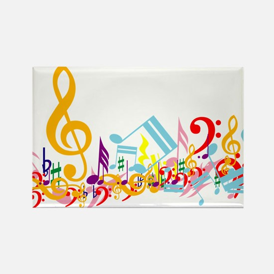 Colorful musical notes Rectangle Magnet