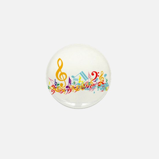 Colorful musical notes Mini Button